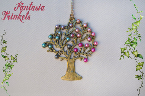 Pale Gold Tree of Life with Half Pearls Pendant Necklace - Choose Teal or Pink - Nature Lover Statement Jewelry