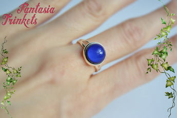Mood Ring - 10mm Color Changing Cabochon on Silver Tone Brass Adjustable Ring - Vintage Mood Jewelry