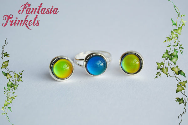 Mood Set - 10mm Color Changing Cabochons on an Adjustable Silver Tone Brass Ring and Post Earrings Set - Vintage Mood Jewelry