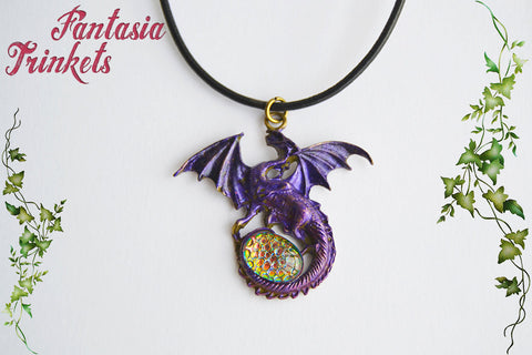 Purple Dragon with Color Shifting Rainbow Mosaic Glass Gem Egg - Handpainted Pendant Necklace - Epic Medieval Fantasy Jewelry