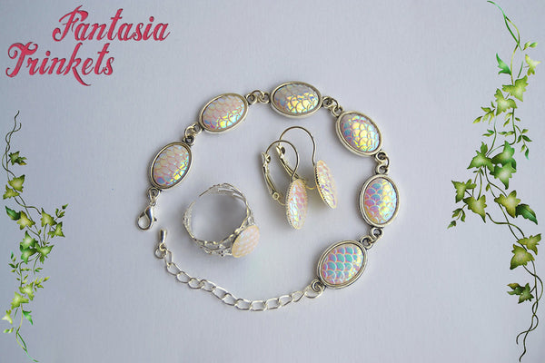 Falkor the Luck Dragon Jewelry Set - Iridescent White Opal Pearl Scales Ring + Earrings + Bracelet - Neverending Story Jewelry