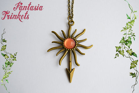 House Martell Desert Sun + Viper Spear Bronze Pendant Necklace - Game of Thrones Jewelry