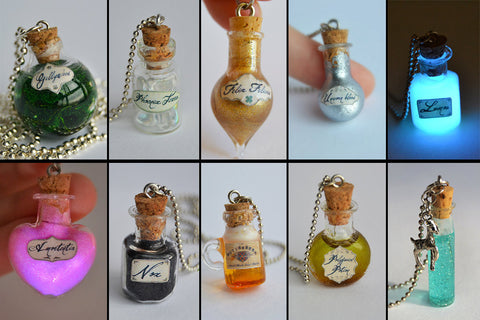 Any 4 to 10 Harry Potter Magic Potion Glass Bottle Charm Pendant Necklaces - DISCOUNTED PRICE