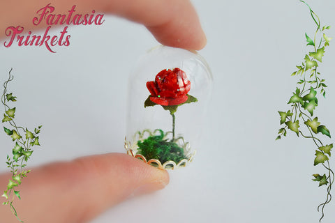 Enchanted Red Rose (or custom color) in a Glass Dome - Miniature Ornament or Pendant Necklace - Beauty and the Beast Fairy Tale inspired