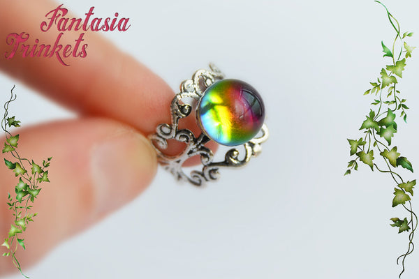 Rainbow Crystal Ball Ring - Real Glass Orb with Color Shifting Effect on Adjustable Filigree Ring