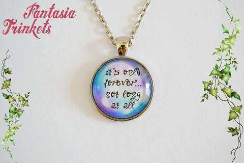 It's only forever, not long at all - Jareth the Goblin King Song Quote Bubble Photo Glass Pendant Necklace - Labyrinth Jewelry