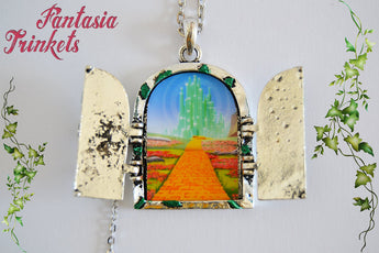 Door to Oz - Handpainted Silver and Green Locket - Yellow Brick Road to Emerald City - Pendant Necklace