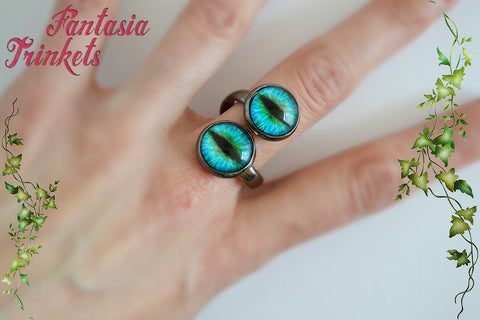 Dragon Eyes Ring - Gunmetal Tone Adjustable Double Ring - 11 different colorful designs - Fantasy Jewelry