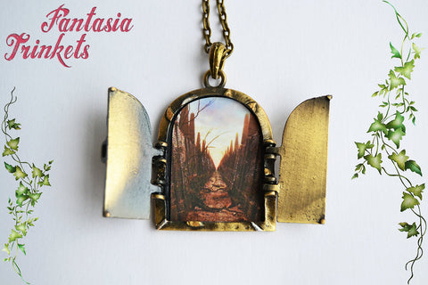 Door to Jareth's Labyrinth - Handpainted Bronze Locket (quote or picture inside) Pendant Necklace