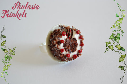 Black Forest Cake Ring - Super Realistic Clay Miniature on an Adjustable Ring - Miniature Food Jewelry