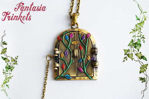 Door to Wonderland - Handpainted Fantasy Locket (illustration inside) Pendant Necklace - Alice in Wonderland