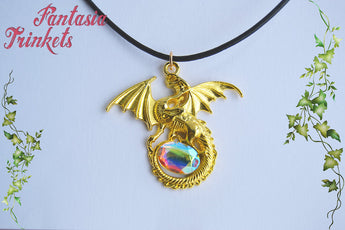 Smaug and the Arkenstone - Golden Dragon with Color Shifting Aurora Borealis Jewel Pendant Necklace