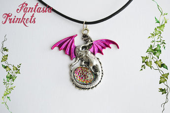 Pink Winged Dragon with Color Shifting Rainbow Mosaic Glass Gem Egg - Handpainted Pendant Necklace - Epic Medieval Fantasy Jewelry