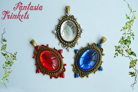 Air, Fire and Water Elemental Czech Glass Jewel Pendant Necklaces - Fantasy Jewelry