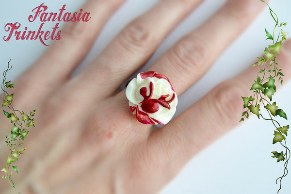 Painting the roses red - Handpainted White and Red Rose Ring - Alice in Wonderland