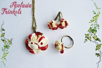 Painting the roses red - Handpainted Ring, Earrings, Brooch and Pendant Necklace Set - Alice in Wonderland