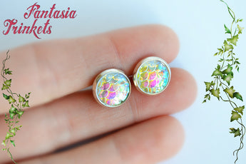 Iridescent Mermaid Scales Ring and Earrings Set - 3 different colors - Fantasy Jewelry