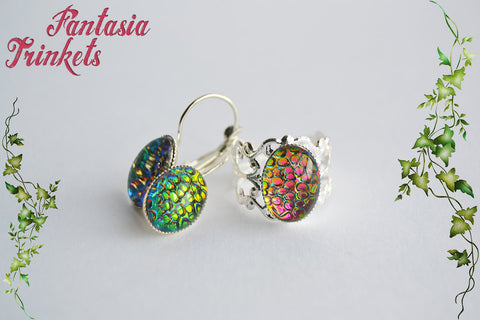 Dragon Egg Set - Rainbow Color Shifting Mosaic Glass Gem on Shiny Silver Brass Ring and Earrings Set - Fantasy Jewelry