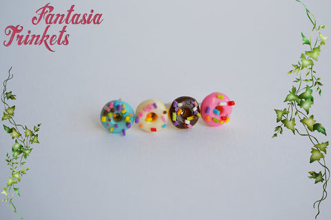 Tiny Sprinkled Donut Ear Studs - Colorful Clay Sweets Earrings - Hypoallergenic Stainless Steel Posts - Miniature Food Jewelry