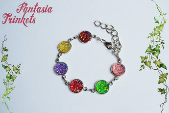 Colorful Faux Druzy Silver Bracelet