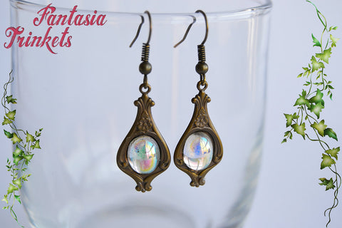 Vintage Drops with AB Glass Gems Bronze Brass Dangle Hook Earrings