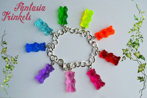 Rainbow Gummy Bears Charm Bracelet - Miniature Food Jelly Sweets Jewelry