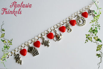Alice in Wonderland Charm Bracelet with Red Hearts