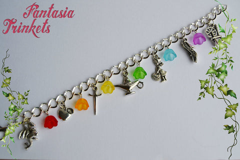 Fairy Tales Themed Silver Charm Bracelet with Rainbow Flowers