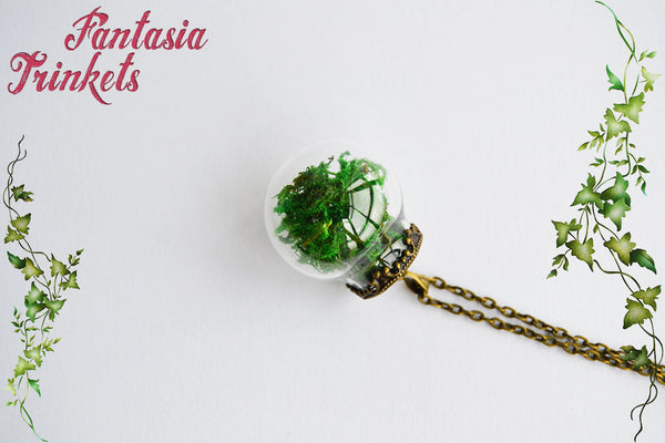 Real Green Moss in a Glass Ball Pendant Necklace - Nature Lover Statement Jewelry
