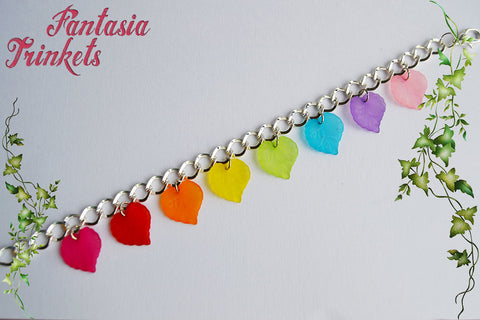 Rainbow Leaves Colorful Silver Link Charm Bracelet