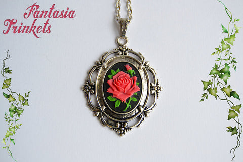 Vintage Red Rose Cameo on an Antique Silver Floral Pendant Necklace