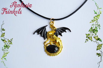 Black Winged Golden Dragon with Glittery Black Glass Gem Egg - Handpainted Pendant Necklace - Epic Medieval Fantasy Jewelry