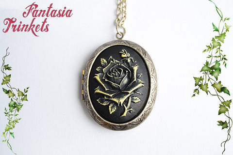 Dark Rose Cameo Locket - Personalized text or photo inside - Handpainted Vintage Pendant Necklace - Romantic & Gothic Jewelry