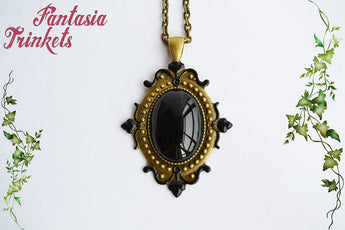 Black Glass Gem on a Bronze Pendant Necklace