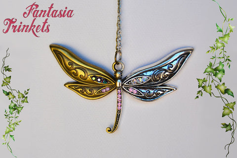 Dragonfly with Rhinestones Silver or Bronze Pendant Necklace - Nature Lover Statement Jewelry