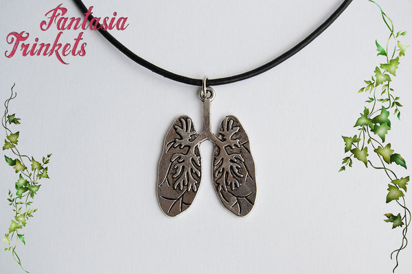 Lungs Organ Antique Silver Charm Keychain or Pendant Necklace