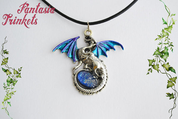 Blue and Silver Dragon with Glittery Glass Gem Egg - Handpainted Pendant Necklace - Epic Medieval Fantasy Jewelry
