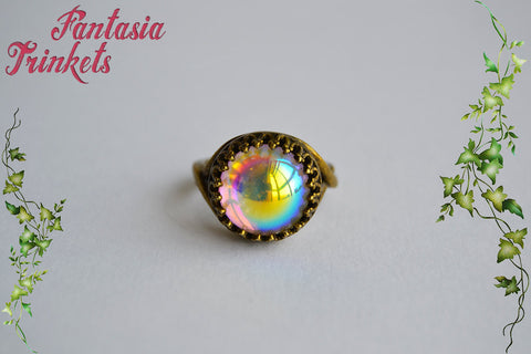 Aurora Borealis Iridescent Glass Gem on Adjustable Bronze Crown Edge Ring - Medieval Fantasy Jewelry