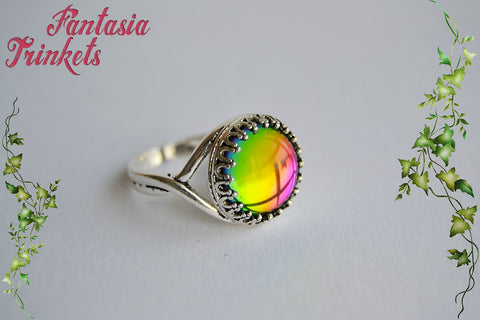 Rainbow Color Shifting Glass Gem on an Adjustable Silver Crown Edge Ring - Fantasy Jewelry