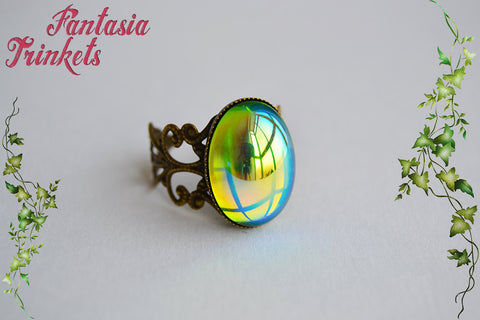 Iridescent Peridot Green Glass Gem on an Adjustable Bronze Filigree Ring - Medieval Fantasy Jewelry