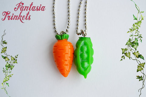 Peas and Carrots Friendship Charms, Keychains or Pendant Necklaces - Colorful Miniature Food Pendants
