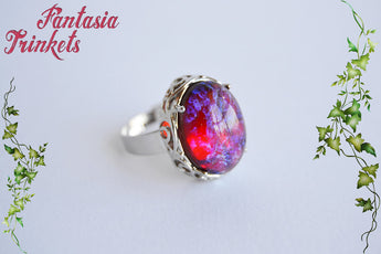 Dragon's Breath Ring - Czech Glass Mexican Fire Opal 18x13 Oval Cabochon on an Adjustable Silver Plated Ring - Medieval Fantasy Jewelry