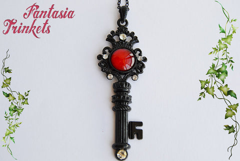 Key to Dracula's Castle - Black Key with Blood Red Glass Jewel - Handpainted Gothic Skeleton Key Pendant Necklace - Fantasy Jewelry