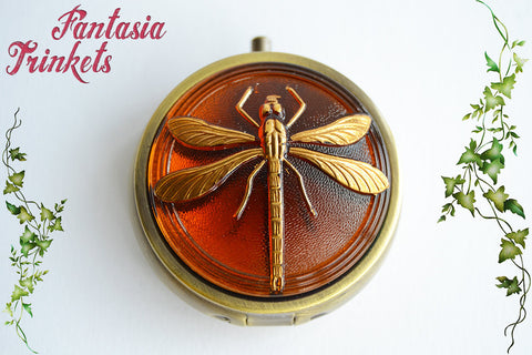 Dragonfly in Amber Box - Huge Czech Glass Button - Outlander inspired