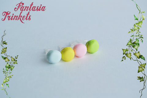 Macaron Earrings - Tiny Pastel French Macarons Studs - 6 colors - Fimo Clay on Plastic, Brass or Steel Posts - Miniature Pastry Food Jewelry