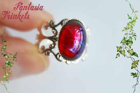Dragon's Breath Ring - Small Czech Glass Mexican Fire Opal 14x10 Oval Cabochon - Adjustable Silver Brass Filigree Ring - Medieval Fantasy