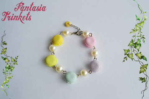 Pastel French Macarons and Pearls Bracelet - Miniature Food Jewelry