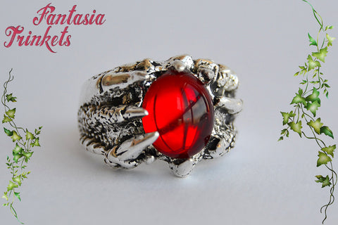 "Targaryen Ring ""Fire & Blood"" Ruby Gem Dragon Claw Unisex Ring - Game of Thrones Jewelry"