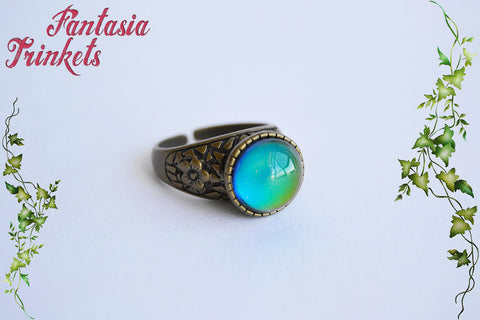 Mood Ring - Color Changing Stone on an Adjustable Bronze Floral Ring - Vintage Mood Jewelry