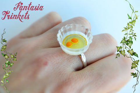Eggs in a Bowl Ring - Realistic Miniature Food Jewelry
